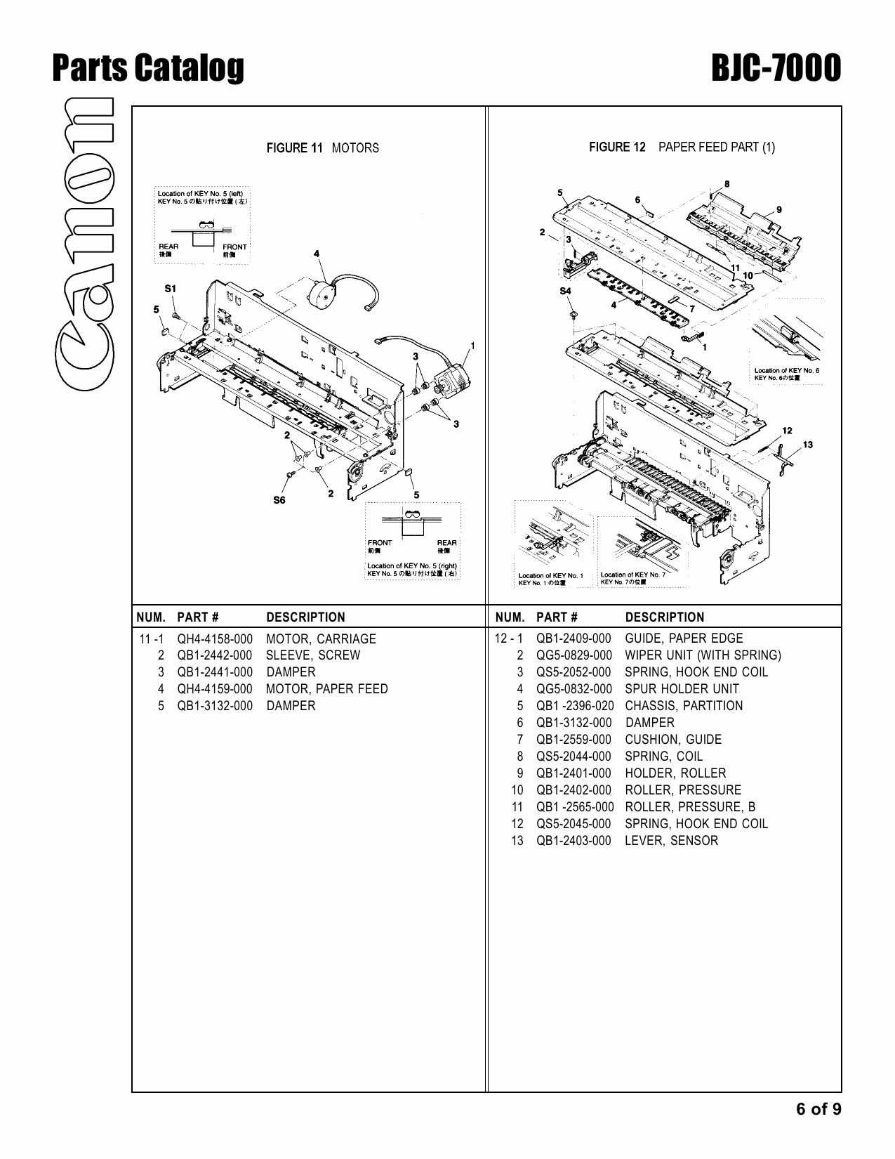 Canon BubbleJet BJC-7000 Parts Catalog Manual-6